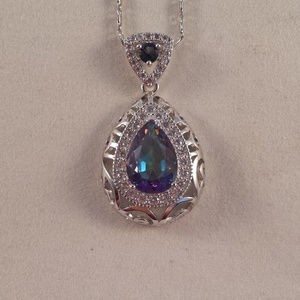 Jewelry - 18K White Gold Mystic Topaz Vine Pendant Necklace